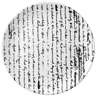 Beautiful script from 1776 draft by Jefferson Plate