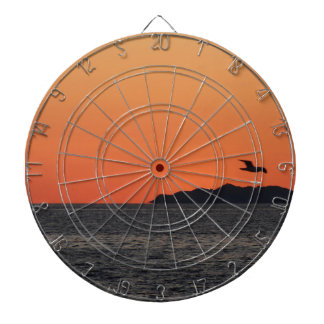 Beautiful sea sunset with island silhouette dartboard