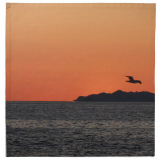 Beautiful sea sunset with island silhouette napkin
