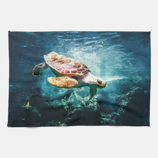 Beautiful Sea Turtle Ocean Underwater Image Kitchen Towels