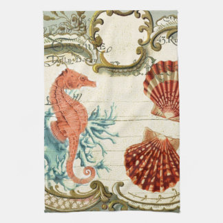 beautiful seahorse and seashell design kitchen towels