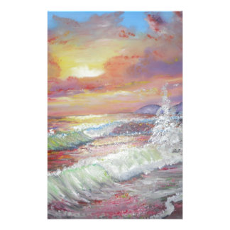 "Beautiful Seascape 18x24"" canvas oil Personalized Stationery"