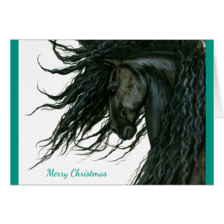 Beautiful Season Greeting Friesian Horse by Bihrle Card