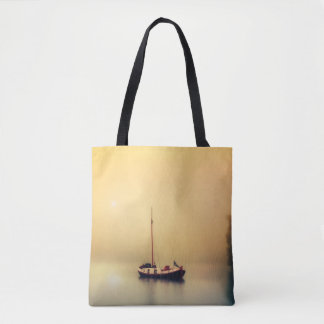 Beautiful Serene Boat, Trees and Water Tote Bag