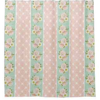 Beautiful Shabby Chic Country Floral Shower Curtain