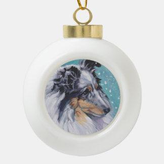 Beautiful Sheltie Shetland Sheepdog Fine Art Ceramic Ball Christmas Ornament
