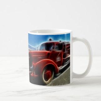 Beautiful Shiny Antique Red Fire Truck Art Basic White Mug