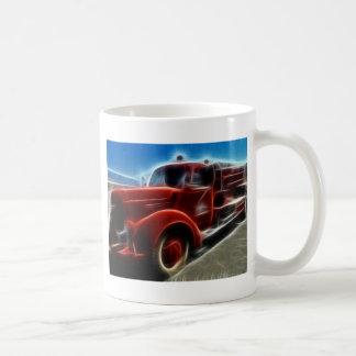 Beautiful Shiny Antique Red Fire Truck Art Coffee Mug