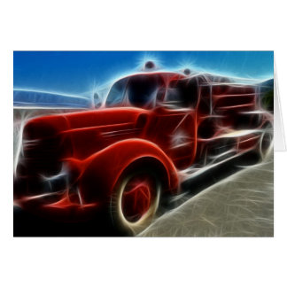 Beautiful Shiny Antique Red Fire Truck Art Note Card