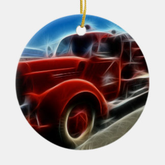 Beautiful Shiny Antique Red Fire Truck Art Round Ceramic Decoration
