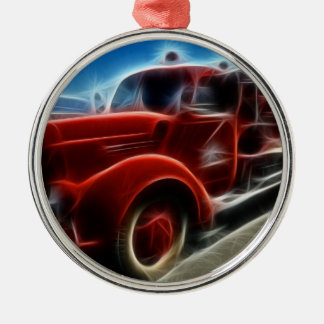 Beautiful Shiny Antique Red Fire Truck Art Silver-Colored Round Decoration