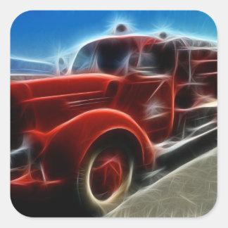 Beautiful Shiny Antique Red Fire Truck Art Square Sticker