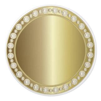 Beautiful Shiny Gold and Diamond Print Ceramic Knob