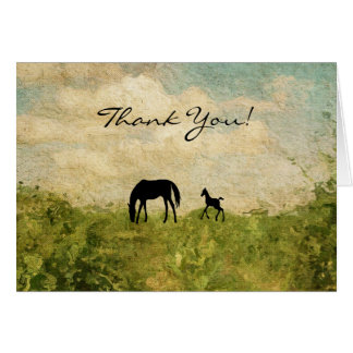 Beautiful Silhouette Mare and Foal Horse Thank You Card