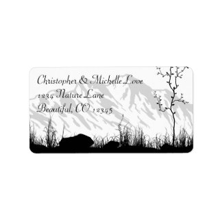 Beautiful Silhouette Mountain Address Label