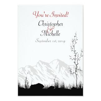 Beautiful Silhouette Mountain Black, White Wedding 13 Cm X 18 Cm Invitation Card