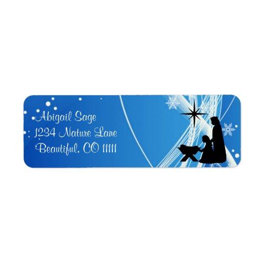 Beautiful Silhouette Nativity Christmas Return Address Label