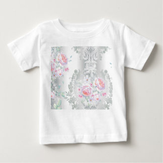 beautiful, silk,damask,pink,roses,vintage,wedding, baby T-Shirt