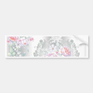 beautiful, silk,damask,pink,roses,vintage,wedding, bumper sticker