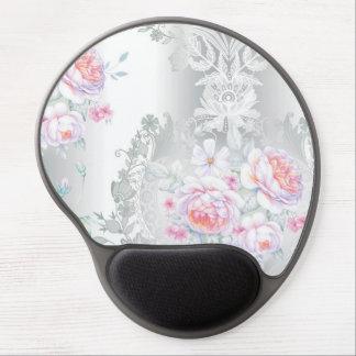 beautiful, silk,damask,pink,roses,vintage,wedding, gel mouse pad