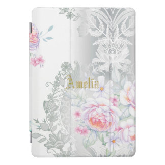 beautiful, silk,damask,pink,roses,vintage,wedding, iPad pro cover