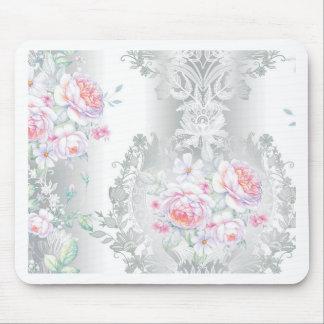 beautiful, silk,damask,pink,roses,vintage,wedding, mouse pad