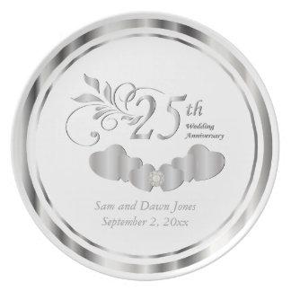 Beautiful Silver and White Anniversary Keepsake Plate