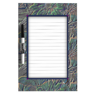 Beautiful Silver Floral Dry-Erase Whiteboard