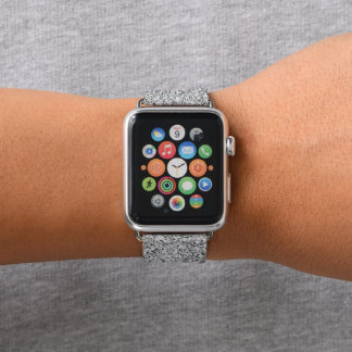 Beautiful Silver glitter sparkles Apple Watch Band