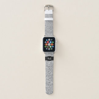 Beautiful Silver glitter sparkles Monogram Apple Watch Band