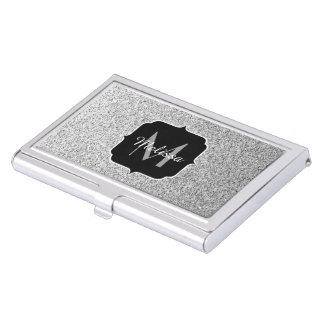 Beautiful Silver glitter sparkles Monogram Business Card Holder