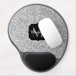 Beautiful Silver glitter sparkles Monogram Gel Mouse Pad