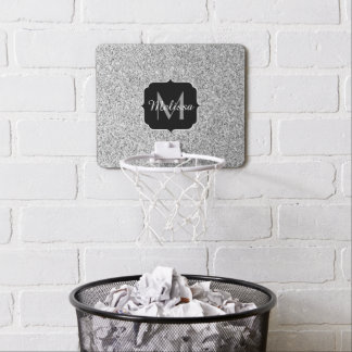 Beautiful Silver glitter sparkles Monogram Mini Basketball Hoop