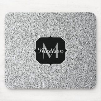 Beautiful Silver glitter sparkles Monogram Mouse Pad