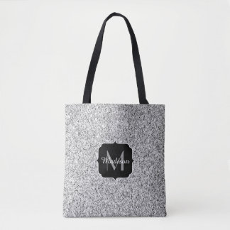 Beautiful Silver glitter sparkles Monogram Tote Bag