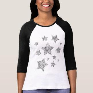 Beautiful Silver glitter sparkles Stars T-Shirt