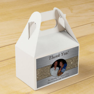 Beautiful Silver & Gold Picture Favor Boxes