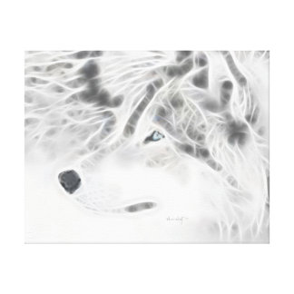 "Beautiful Silver Wolf ""painted with light"" Gallery Wrap Canvas"