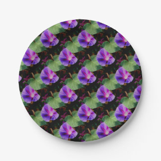 Beautiful Single Morning Glory Flower and Leaf Paper Plate