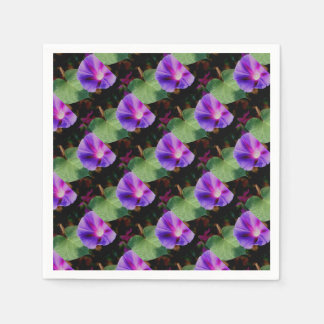 Beautiful Single Morning Glory Flower and Leaf Paper Serviettes