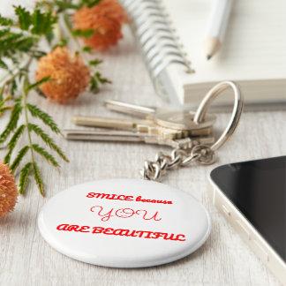 Beautiful Smile Basic Round Button Key Ring