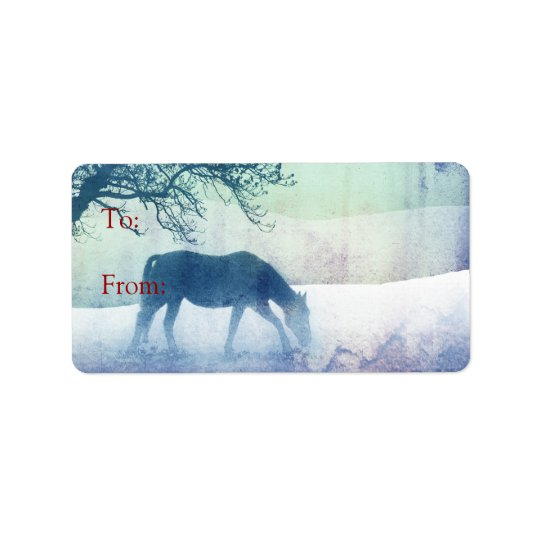 Beautiful Snow Horse Christmas Gift Tags Address Label