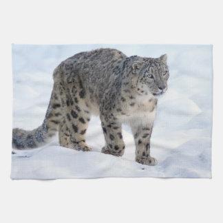 Beautiful snow leopard tea towel