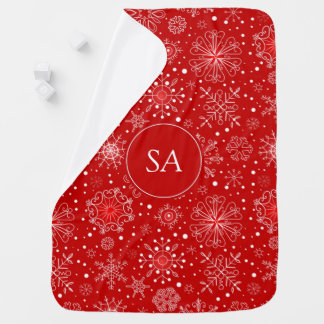 Beautiful Snowflakes on Red Background Christmas Baby Blanket