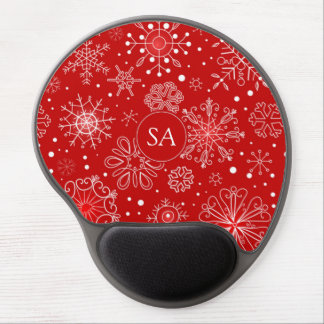 Beautiful Snowflakes on Red Background Christmas Gel Mouse Pad