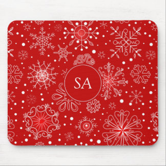 Beautiful Snowflakes on Red Background Christmas Mouse Pad