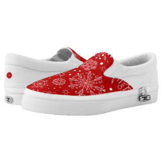 Beautiful Snowflakes on Red Background Christmas Slip-On Shoes