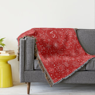Beautiful Snowflakes on Red Background Christmas Throw Blanket