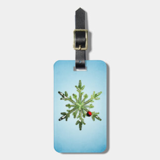 Beautiful Snowy Pine Snowflake Christmas Luggage Tag