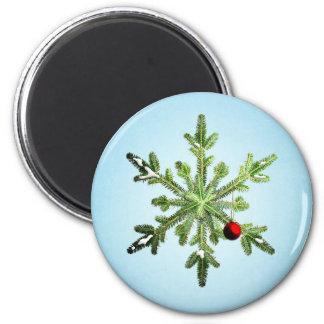 Beautiful Snowy Pine Snowflake Christmas Magnet